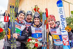 02.03.2019, Seefeld, AUT, FIS Weltmeisterschaften Ski Nordisch, Seefeld 2019, Nordische Kombination, Team Bewerb, Flower Zeremonie, im Bild Bronzemedaillengewinner Bernhard Gruber (AUT), Mario Seidl (AUT), Franz-Josef Rehrl (AUT), Lukas Klapfer (AUT) // Bronce medalist Bernhard Gruber Mario Seidl Franz-Josef Rehrl Lukas Klapfer of Austria during the flowers ceremony for the Team competition of Nordic Combined for the FIS Nordic Ski World Championships 2019. Seefeld, Austria on 2019/03/02. EXPA Pictures © 2019, PhotoCredit: EXPA/ Stefan Adelsberger