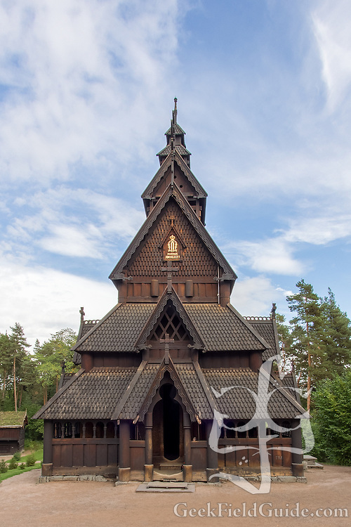 Rebuilt stave church at the Norse cultural museum in Oslo, Norway.