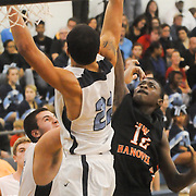 Hoggard's Xavier Johnson guards New Hanover's Ramello Williams Friday December 12, 2014 at Hoggard High School in Wilmington, N.C. (Jason A. Frizzelle)