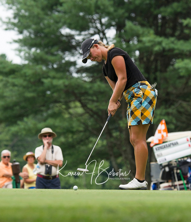 Marissa Steen putts the 6th hole during Saturday's round of the Symetra LPGA Tour at Beaver Meadow Golf Course.  (Karen Bobotas/for the Concord Monitor)