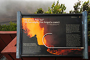 Interpretive sign at Kilauea Iki, Hawaii Volcanoes National Park, Hawaii USA