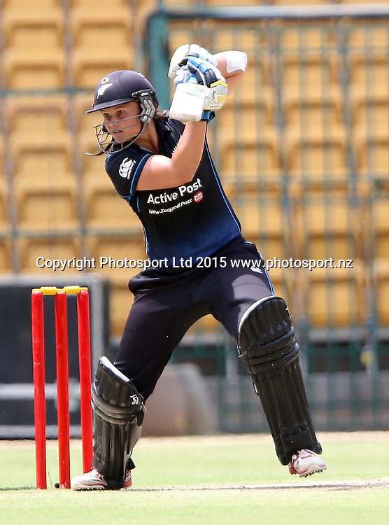 New Zealand Skipper Suzie Bates plays a shot during the 3rd ODI match against India at Chinnaswamy Stadium in Bangalore.