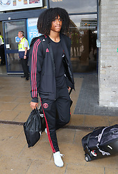Tahith Chong is spotted at the Manchester Airport, UK as the Manchester United Football Club return from their USA Pre-Season tour on July 1, 2018.