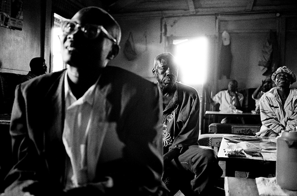 Nubians consider Kibera to be their ancestral homeland; their homeland in Kenya. Because they were not recognized as a tribe in Kenya and because their claim to land in Kibera has been contested by successive governments, the Nubians have been unable to fully participate in Kenyan society. Nubian men gather at their social club in Makina.