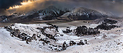Castle Hill limestone boulders, clearing southerly storm at dawn, Torlesse Range behind, panorama Castle Hill Basin, Canterbury