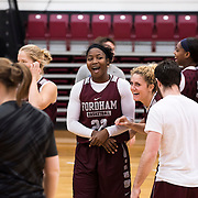 December 16, 2016 - New York, NY : Fordham University Women's Basketball team seniors Danielle Burns (22 - center) and Hannah Missry (25 - center right) share a lighthearted moment as they participate in team practice in Rose Hill Gymnasium on Friday. CREDIT: Karsten Moran for The New York Times