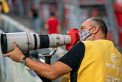 "Photographer Cees van Hoogdalem with month mask. FC Utrecht convincingly won the practice match against sc Heerenveen. The ""Domstedelingen"" were too strong for SC Heerenveen in Stadium Galgenwaard with 4-1<br /> on August 20, 2020 in Utrecht, Netherlands"