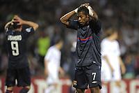 FOOTBALL - UEFA CHAMPIONS LEAGUE 2009/2010 - 1/2 FINAL - 2ND LEG - OLYMPIQUE LYONNAIS v BAYERN MUNCHEN - 27/04/2010 - PHOTO JEAN MARIE HERVIO / DPPI - DESPAIR MICHEL BASTOS (OL)
