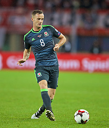 VIENNA, AUSTRIA - Thursday, October 6, 2016: Wales' Andy King in action against Austria during the 2018 FIFA World Cup Qualifying Group D match at the Ernst-Happel-Stadion. (Pic by David Rawcliffe/Propaganda)