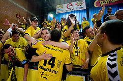 Sergo Datukashvili (14)  celebrates with fans at handball match of MIK 1st Men league between RD Slovan and RK Gorenje Velenje, on May 16, 2009, in Arena Kodeljevo, Ljubljana, Slovenia. Gorenje won 27:26. (Photo by Vid Ponikvar / Sportida)