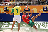 Footbal-FIFA Beach Soccer World Cup 2006 -  Semi Final- BRA xPOR -Madjer and Sidney-Rio de Janeiro- Brazil - 11/11/2006.<br />Mandatory Credit: FIFA/Ricardo Ayres