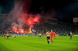 MARSEILLE, FRANCE - Tuesday, September 16, 2008: Olympique de Marseille fans celebrates after taking the lead against Liverpool during the opening UEFA Champions League Group D match at the Stade Velodrome. (Photo by David Rawcliffe/Propaganda)