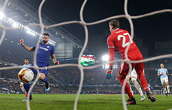 Chelsea's Olivier Giroud scores his side's first goal of the game during the UEFA Europa League round of 32 second leg match at Stamford Bridge, London.