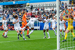 20-06-2019 FRA: Netherlands - Canada, Reims<br /> FIFA Women's World Cup France group C match between Netherlands and Canada at Stade Auguste Delaune / Anouk Dekker #6 of the Netherlands scores the 1-0. Christine Sinclair #12 of Canada, Allysha Chapman #2 of Canada, Ashley Lawrence #10 of Canada, Janine Beckie #16 of Canada, Desiree Scott #11 of Canada, Stephanie Labbé #1 of Canada