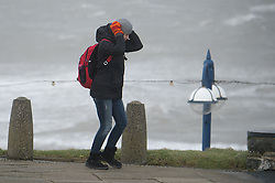 """© Licensed to London News Pictures. 12/02/2014. Aberystwyth, UK Winds gusting up to 107mph are battering the west wales coast at Aberystwyth.  Met Office """"red warnings"""",  the first of the winter , indicating risk to life and severe structural damage have been issued.. Photo credit : Keith Morris/LNP"""