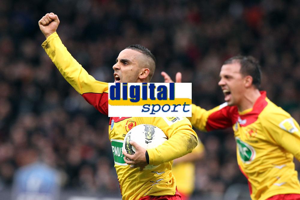 FOOTBALL - FRENCH CUP 2011/2012 - 1/32 FINAL - LYON DUCHERE v OLYMPIQUE LYONNAIS - 8/01/2012 - PHOTO EDDY LEMAISTRE / DPPI - JOY OF RAKIF BOUDERBAL (LYON DUCHERE) AFTER HIS GOAL