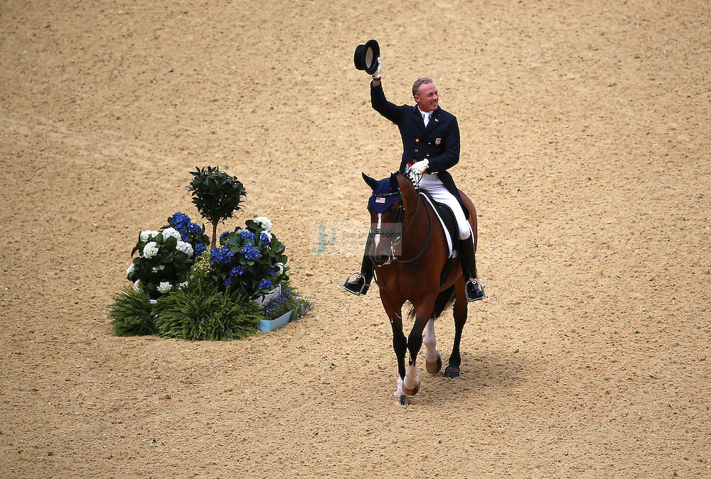 Jan Ebeling of the USA rides the horse Rafalca during the equestrian dressage team event at Greenwich Park during day 6 of the London Olympic Games in London, England, United Kingdom on August 2, 2012..(Jed Jacobsohn/for The New York Times)....