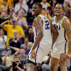 Jan 8, 2019; Baton Rouge, LA, USA; LSU Tigers forward Darius Days (22) and guard Ja'vonte Smart (1) react after a basket at the end of the first half against the Alabama Crimson Tide at the Maravich Assembly Center. Mandatory Credit: Derick E. Hingle-USA TODAY Sports