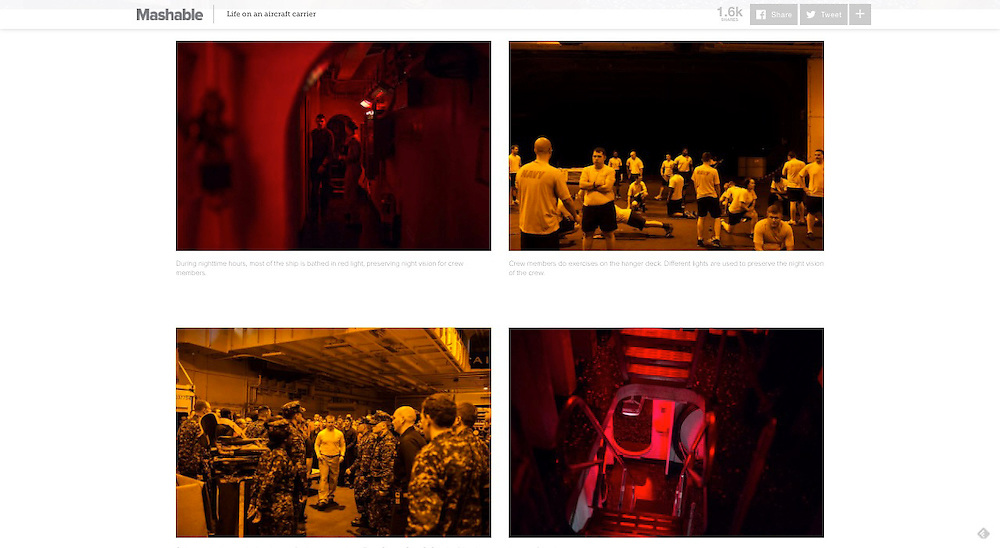 """Mashable.com: """"What It's Really Like to Live and Work on an Aircraft Carrier """". (June 23, 2016)<br /> <br /> Photos, Text and Producing by Matt Lutton"""
