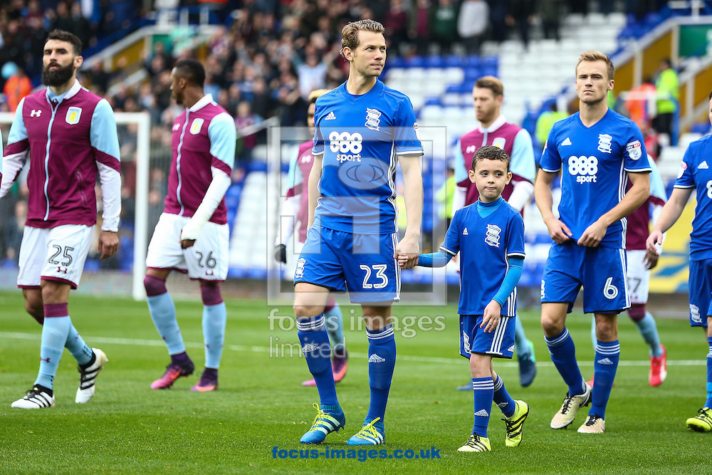 Jonathan Spector of Birmingham City leads the players on to the pitch during the Sky Bet Championship match at St Andrews, Birmingham<br /> Picture by Andy Kearns/Focus Images Ltd 0781 864 4264<br /> 30/10/2016