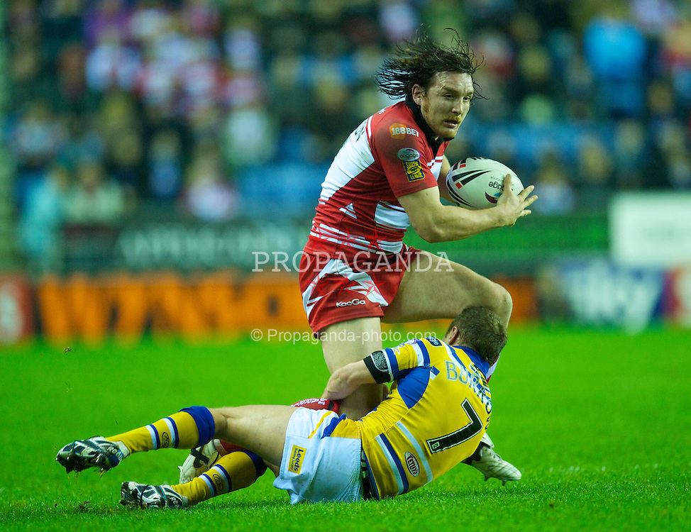 WIGAN, ENGLAND - Friday, March 26, 2010: Wigan Warriors' Martin Gleeson in action against Leeds Rhinos during the Super League XV Round 8 match at the DW Stadium. (Pic by David Rawcliffe/Propaganda)