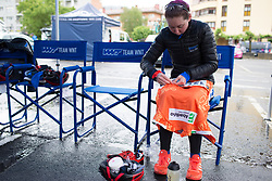 Katie Archibald (GBR) of Team WNT pins on her number before Stage 2 of the Emakumeen Bira - a 90.8 km road race, starting and finishing in Markina Xemein on May 18, 2017, in Basque Country, Spain. (Photo by Balint Hamvas/Velofocus)