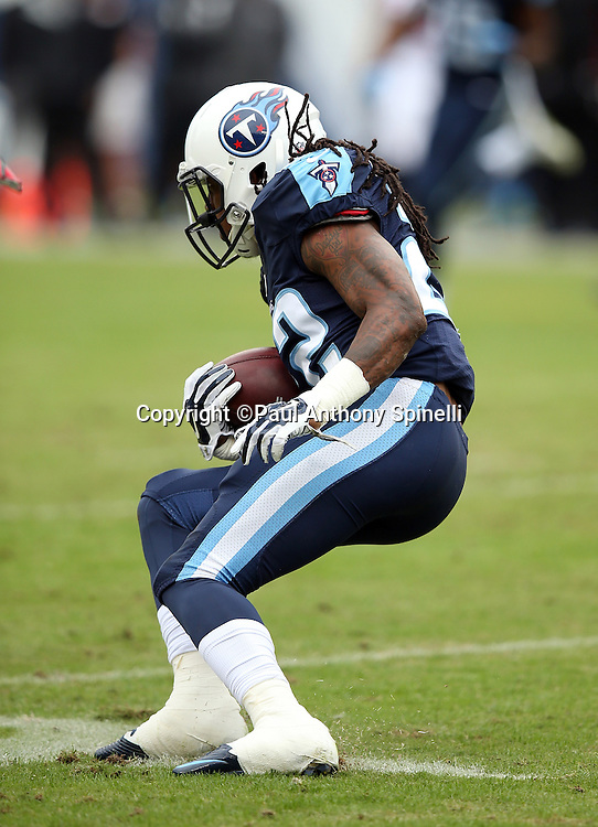 Tennessee Titans running back Dexter McCluster (22) makes a cut as he runs the ball during the 2015 week 7 regular season NFL football game against the Atlanta Falcons on Sunday, Oct. 25, 2015 in Nashville, Tenn. The Falcons won the game 10-7. (©Paul Anthony Spinelli)
