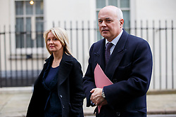 © Licensed to London News Pictures. 24/02/2015. LONDON, UK. Esther McVey and Work & Pensions Secretary Iain Duncan Smith attending to a cabinet meeting in Downing Street on Tuesday, 24 February 2015. Photo credit: Tolga Akmen/LNP