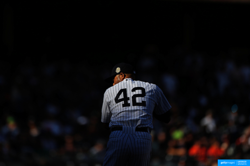 Mariano Rivera, wearing number 42, in action during Mariano Rivera Day at Yankee Stadium.<br /> <br /> Image Copyright MLB Photos