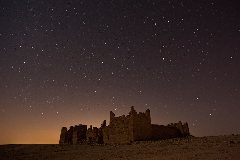 Ancient Roman built fortress Qasr Bashir under stars