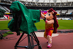 London, August 1st 2017. Official mascot for the IAAF World Championships London 2017 Hero the Hedgehog gets up to mischief as he gets used to his new surroundings at the London Stadium, Queen Elizabeth Park.