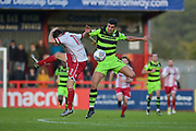 Forest Green Rovers Omar Bugiel(11) wins a header during the EFL Sky Bet League 2 match between Stevenage and Forest Green Rovers at the Lamex Stadium, Stevenage, England on 21 October 2017. Photo by Adam Rivers.