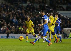 Tomer Hemed of Brighton and Hove Albion scores from the penalty spot to make it 1-0 - Mandatory byline: Paul Terry/JMP - 29/02/2016 - FOOTBALL - Falmer Stadium - Brighton, England - Brighton v Leeds United - Sky Bet Championship