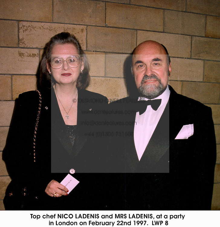 Top chef NICO LADENIS and MRS LADENIS, at a party in London on February 22nd 1997.LWP 8