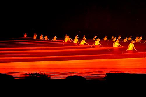 A scene from the Zhang Yi Mou, Liu San Jie Impressions performance in Yangshuo.