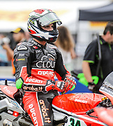 Jul 19 2015 Salinas, CA U.S.A. # 34 Davide Giuglano waiting on the start of the race during the eni FIM Superbike World Championship Laguna Sega Salinas, CA  Thurman James / CSM