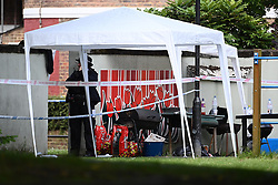 © Licensed to London News Pictures. 12/07/2020. London, UK. The scene of a murder on the Black Prince Estate in Kennington South London in which a man, believed to be in his 30s, was stabbed to death late last night . Photo credit: Ben Cawthra/LNP