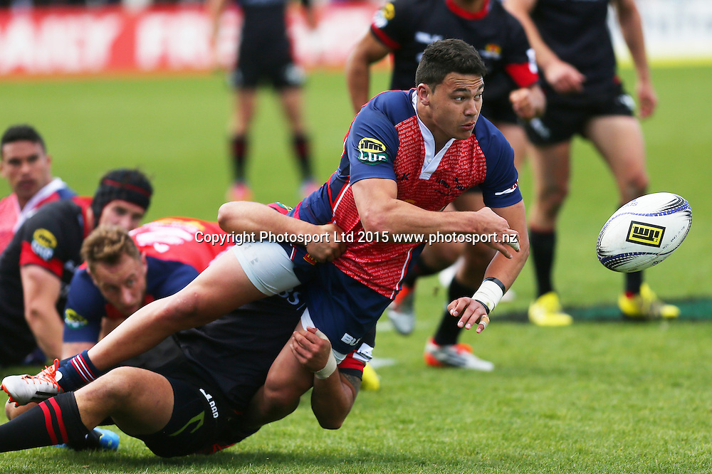 Tasman player David Havili tries to clear the ball during their ITM Cup game Tasman v Canterbury. Trafalgar Park, Nelson, New Zealand. Saturday 3rd October 2015. Copyright Photo: Evan Barnes/ www.photosport.nz