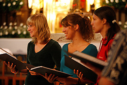 Young women  choir in church. (Photo by Vid Ponikvar / Sportal Images)