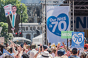 Jeremy Hunt 'wrecking' the NHS' - #OurNHS70: free, for all, forever a protest and celebration march in honour of the 70 year history of the National Health Service. Organised by: The People's Assembly, Trades Union Congress, Unison, Unite, GMB, British Medical Association, Royal College of Nursing, Royal College of Midwives amongst others.