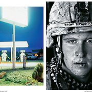 "Sunday Times Magazine Spectrum with photo of U.S. Marine Damon ""Commie"" Connell in Helmand, Afghanistan by Louie Palu (right) alongside photo by Seba Curtis (left) who would later in 2009 appear together in the New York Photo Festival."