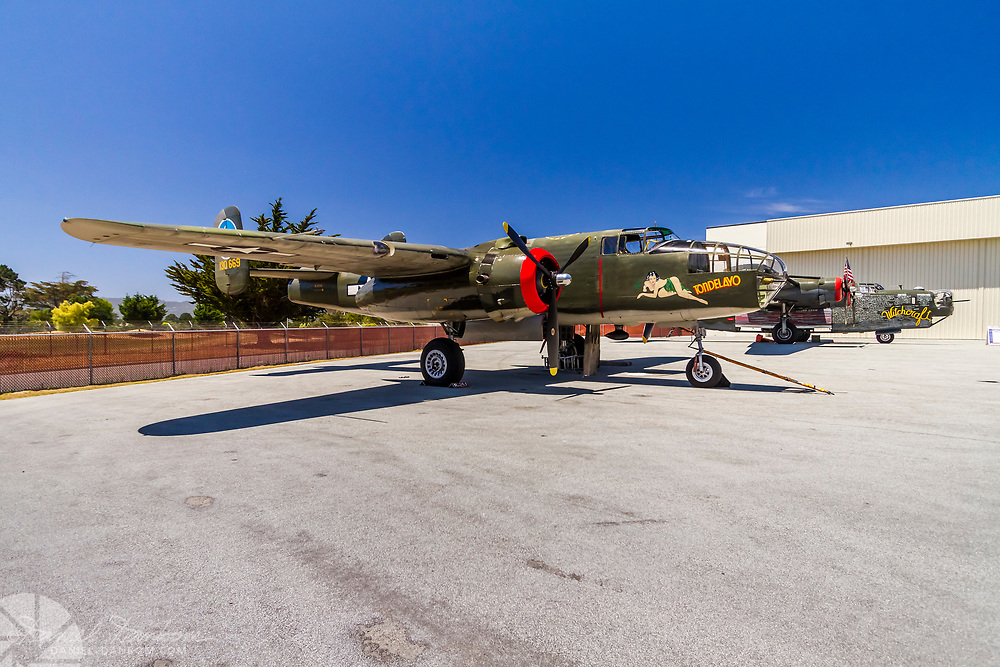 North American B-25J Mitchell, NL3476G Tondelayo, Consolidated B-24J Liberator, on display at Monterey Jet Center, Collings Foundation event.