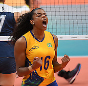 RIO DE JANEIRO, BRAZIL - AUGUST 16:	<br /> <br /> Fernanda Garay #16 of Brazil in action during the Women\'s Quarterfinal match between China and Brazil on day 11 of the Rio 2106 Olympic Games at the Maracanazinho on August 16, 2016 in Rio de Janeiro, Brazil. <br /> ©Exclusivepix Media