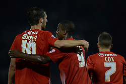 Leyton Orient's David Mooney congratulates Leyton Orient's Kevin Lisbie on scoring a goal  - Photo mandatory by-line: Mitchell Gunn/JMP - Tel: Mobile: 07966 386802 17/09/2013 - SPORT - FOOTBALL -  Matchroom Stadium - London - Leyton Orient v Notts County - Sky Bet League One