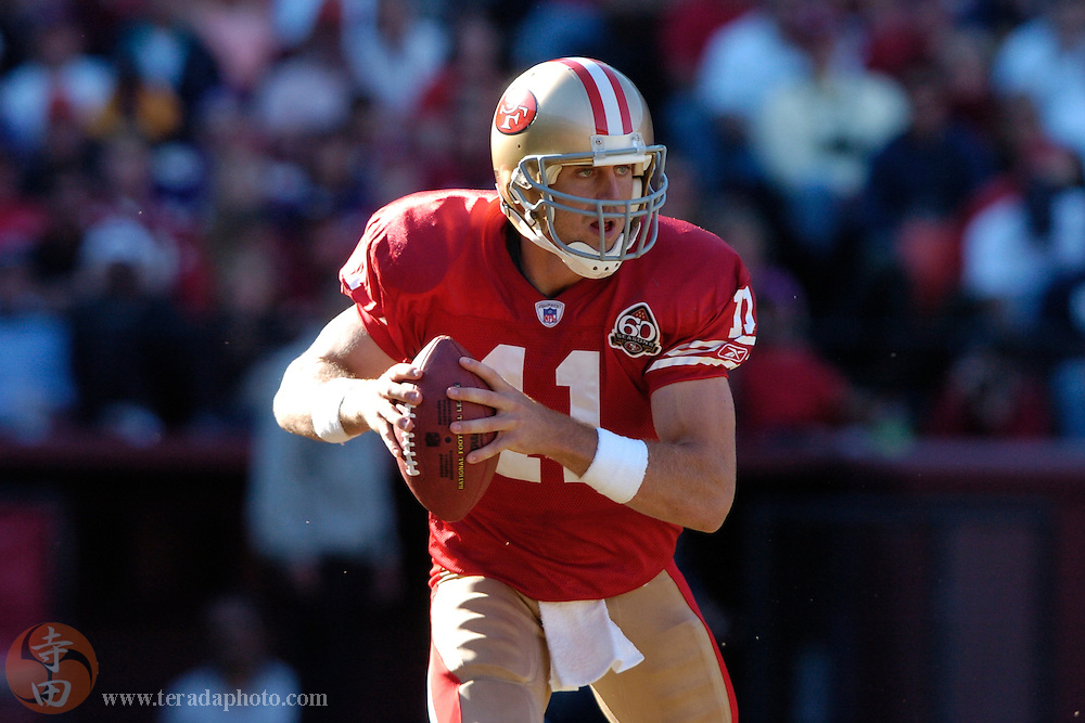 Nov 5, 2006 San Francisco, CA, USA: San Francisco 49ers quarterback Alex Smith (11) looks for a receiver during the second quarter against the Minnesota Vikings at Monster Park. The 49ers defeated the Vikings 9-3.