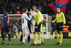 February 6, 2019 - Barcelona, BARCELONA, Spain - Modric of Real Madrid and referees in action during Spanish King championship, football match between Barcelona and Real Madrid, February 06th, in Camp Nou Stadium in Barcelona, Spain. (Credit Image: © AFP7 via ZUMA Wire)
