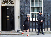 Theresa May, Prime Minister welcomes His Highness Sheikh Mohamed bin Zayed Al Nahyan, Crown Prince of Abu Dhabi to Downing Street. <br /> 10 Downing Street, London, Great Britain <br /> 23rd February 2017 <br /> <br /> Theresa May <br /> <br /> <br /> <br /> Photograph by Elliott Franks <br /> Image licensed to Elliott Franks Photography Services
