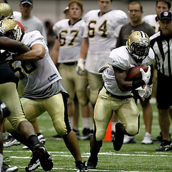 August 5, 2011; Metairie, LA, USA; New Orleans Saints running back Mark Ingram (22) during training camp practice at the New Orleans Saints practice facility. Mandatory Credit: Derick E. Hingle