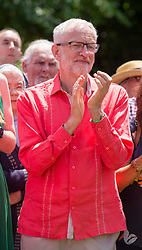 © Licensed to London News Pictures. 21/07/2019; Tolpuddle, Dorset, UK. JEREMY CORBYN, leader of the Labour Party, attends the wreath laying at the grave of Tolpuddle Martyr James Hammett at the church in the village of Tolpuddle, part of the Tolpuddle Martyrs Festival. The Tolpuddle Martyrs Festival for trade unionism, held every year, commemorates the birth of the trade union movement in the 19th century when the Tolpuddle Martyrs were transported to Australia for forming a trade union of agricultural labourers in Dorset. Photo credit: Simon Chapman/LNP.