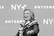 Hempstead, New York, USA. May 23, 2018. HILLARY CLINTON goes on stage to deliver Keynote Address during Day 1 of New York State Democratic Convention, held at Hofstra University on Long Island. Clinton, the former First Lady and NYS Senator, endorsed the re-election of Gov. A. Cuomo for a third term, and mentioned how Hofstra was the site of her first 2016 debate with Trump.